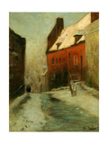 A Winter Street Scene, Montreuil, 1894 Giclee Print by Fritz Thaulow