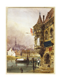 A Figure Beside a Building, Ghent, with Barges on the River Leye Beyond, 1833 Giclee Print by Thomas Shotter Boys