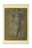 Minerva with a Shield in Her Left Hand, a Lance in Her Right Gicleetryck av Parmigianino,