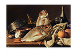 Still Life of Fishes, Oranges and Garlic Giclee Print by Luis Egidio Melendez