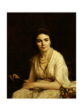 Portrait of a Woman Wearing a Pearl Necklace and Holding a Fan Giclee Print by Alexei Alexevich Harlamoff