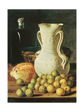 Still Life with Bread, Greengages and Pitcher Giclee Print by Luis Egidio Melendez