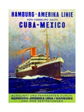 Cuba - Mexico', Poster Advertising the Hamburg American Line, 1899 Giclee Print by German School