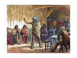 The Grand Council of the Ravens at Fort Laramie, in the Presence of Meriwether Lewis, Engraved by… Giclee Print by Ange-Louis Janet