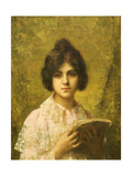 Young Woman Holding a Book Giclee Print by Alexei Alexevich Harlamoff