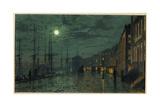Muelles de la ciudad a la luz de la luna Lámina giclée por John Atkinson Grimshaw