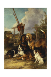 Otter Hounds by a Bridge - Tired Out, 1881 Giclee Print by John Emms