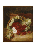 Raspberries in a Cabbage Leaf Lined Basket with White Convulvulus on a Stone Ledge, 1880 Giclee Print by Eloise Harriet Stannard
