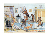 Spring Cleaning Giclee Print by Louis Wain