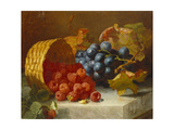 Still Life with Raspberries and a Bunch of Grapes on a Marble Ledge, 1882 Giclee Print by Eloise Harriet Stannard