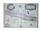 Map of Chile, 17th Century Giclee Print by Willem Janszoon Blaeu