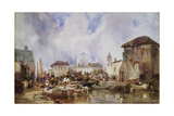 The Market on the Quay, Bruges Giclee Print by Samuel Austin