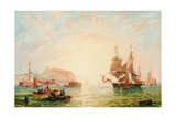 A Trading Brig and Other Vessels Off the Entrance to Scarborough Giclee Print by John Wilson Carmichael