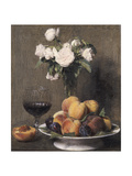 Still Life with Roses, Fruit and a Glass of Wine, 1872 Giclee Print by Ignace Henri Jean Fantin-Latour
