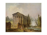 The Ancient Temple Reproduction procédé giclée par Hubert Robert