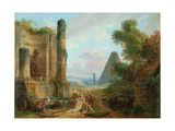 Fountain of Minerva, Rome, 1772 Reproduction procédé giclée par Hubert Robert