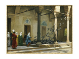 Harem Women Feeding Pigeons in a Courtyard Reproduction procédé giclée par Jean Leon Gerome