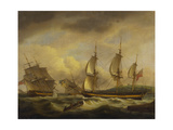 A Merchant Ship in Two Positions by an Estuary Off the South West Coast Giclee Print by Thomas Luny