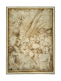 Shepherd Boy Holding a Pipe, Resting under a Tree with His Dog Among their Flock Gicleetryck av Parmigianino,