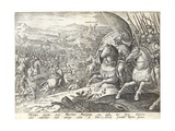 The Battle of Labadia Si Sena and St. Abonda, Plate 3 from 'The History of the Medici', Engraved… Giclee Print by Jan van der Straet