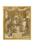 The Virgin and Child Enthroned under a Canopy, with Sts Roch and Sebastian Giclee Print by Federico Fiori Barocci or Baroccio
