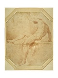 Nude Seated and Turning Away, Grasping a Staff in His Left Hand Giclee Print by Carlo Maratti