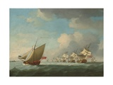 A Squadron of the Red Beating its Way Up the Channel with an Admiralty Yacht Inshore Giclee Print by Francis Swaine