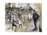 Poverty in Sheffield: Needy Children Flocking to Vestry Hall for Distribution of Food, from 'The… Giclee Print by Andres Ovejero