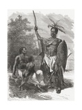A Native of Ougogo, Central Africa, in War Dress, Illustration from 'The World in the Hands',… Giclee Print by Emile Antoine Bayard