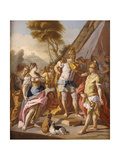 Sisygambis, the Mother of Darius, Mistaking Hephaestion for Alexander the Great Giclee Print by Francesco de Mura