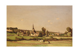 An Extensive Landscape with a Ploughman and a Village Beyond Giclee Print by Henri-Joseph Harpignies