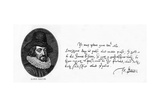 Handwriting and Signature of Sir Francis Bacon from a Letter to King James, April 29, 1615 Giclee Print