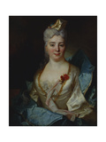Portrait of a Lady, Wearing a White Dress and a Blue Cloak Giclee Print by Nicolas de Largilliere