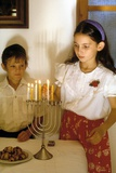 Children Lighting the Hannukah Lights Photographic Print