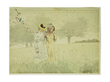 Girls Strolling in an Orchard, 1879 Giclee Print by Winslow Homer