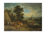 Landscape with Peasants and Cattle by a Cottage Giclee Print by Theobald Michau