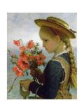 Poppy Girl Giclee Print by Karl Wilhelm Friedrich Bauerle