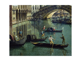 Gondoliers Near the Rialto Bridge, Venice (Detail) Giclee Print by  Canaletto
