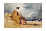 Mother and Child on a Beach Giclee Print by David Cox
