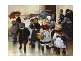 Leaving the Class, 1888 Giclee Print by Jules Jean Geoffroy