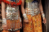 Silver Decorations of Dayak Iban Girls, Including Coins of Queen Victoria, Sarawak, Malaysia Photographic Print