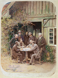 Group of Men Playing Dominoes in the Pays De Bade, 1863 Photographic Print