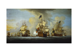 The English Fleet at Anchor with the Admiral's Ship Signalling to the Vice and Rear Admirals Giclee Print by Peter Monamy