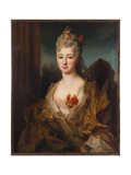 Portrait of a Lady, Half Length, in a White and Gold Embroidered Dress, with Flowers in Her Hair Giclee Print by Nicolas de Largilliere