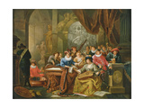 A Musical Party in a Palatial Interior with Statues and Works of Art Giclee Print by Franz Xavier Hendrick Verbeeck