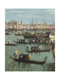 Gondoliers Near the Entrance to the Grand Canal and the Church of Santa Maria Della Salute,… Giclee Print by  Canaletto