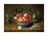 A Still Life of Plums and Apricots in a 'Wan-Li' Porcelain Bowl with a Bunch of Grapes and a… Giclée-Druck von Jacob van Hulsdonck