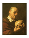 A Vanitas: a Man, Half Length, in a Fur-Lined Coat, Holding a Skull Giclee Print by Jan The Elder Lievens