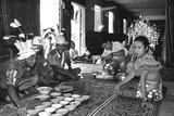 Traditional Welcome Ceremony in a Dayak Iban Longhouse, Rejang River Basin, Sarawak, Malaysia Photographic Print