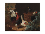 A Rooster, Two Chickens and Two Pigeons by an Antique Chipped Terra Cotta Vase in a Landscape, 1695 Reproduction procédé giclée par Abraham Bisschop